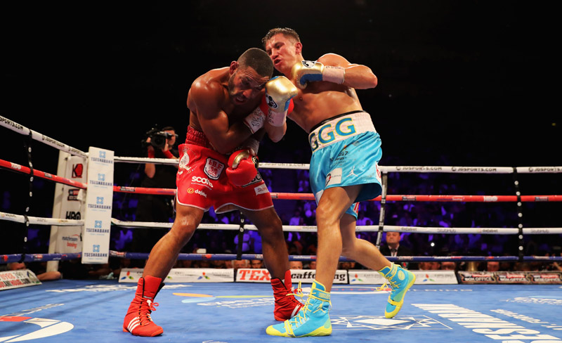 LONDON, ENGLAND - SEPTEMBER 10:  Gennady Golovkin (blue trunks) and Kell Brook (red trunks) in action during their World Middleweight Title contest at The O2 Arena on September 10, 2016 in London, England.  (Photo by Richard Heathcote/Getty Images)